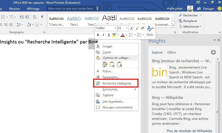 MS Office Recherche